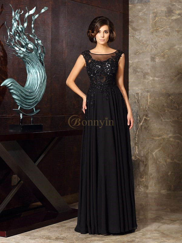Black Chiffon Scoop A-Line/Princess Floor-Length Mother of the Bride Dresses