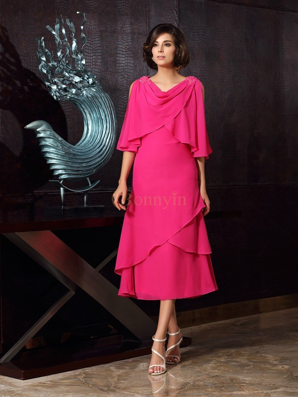 Fuchsia Chiffon Scoop A-Line/Princess Tea-Length Mother of the Bride Dresses