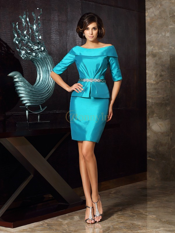 Blue Taffeta Off-the-Shoulder Sheath/Column Knee-Length Mother of the Bride Dresses