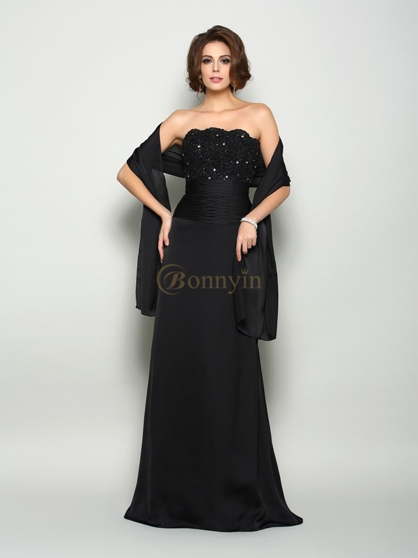 Black Chiffon Strapless A-Line/Princess Sweep/Brush Train Mother of the Bride Dresses