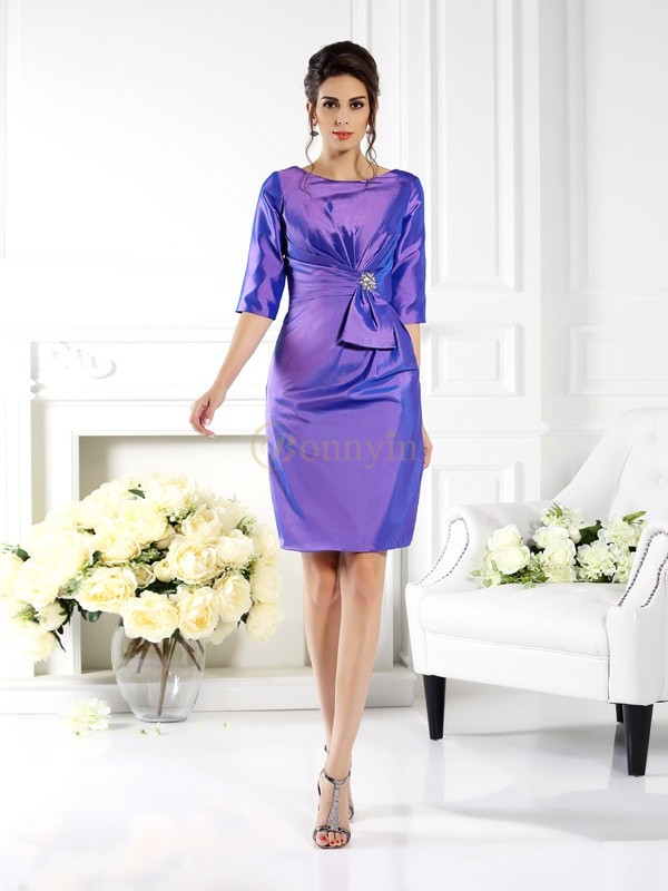 Lilac Taffeta Bateau Sheath/Column Knee-Length Mother of the Bride Dresses
