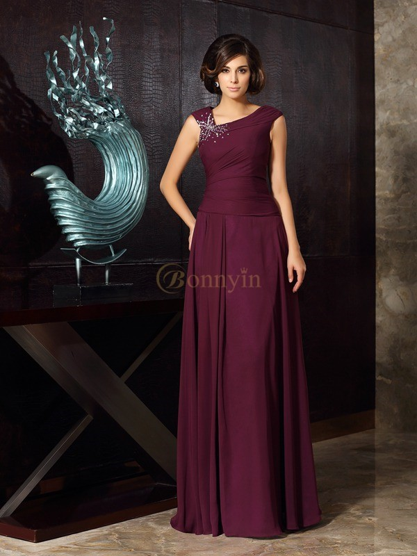 Grape Chiffon A-Line/Princess Floor-Length Mother of the Bride Dresses