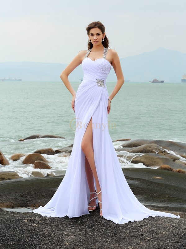 White Chiffon Straps Sheath/Column Chapel Train Wedding Dresses