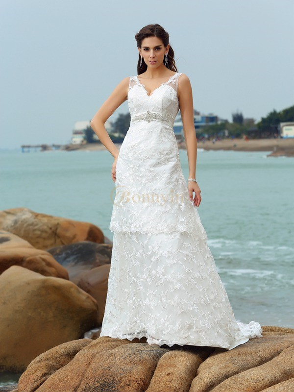 Ivory Satin Straps A-Line/Princess Chapel Train Wedding Dresses