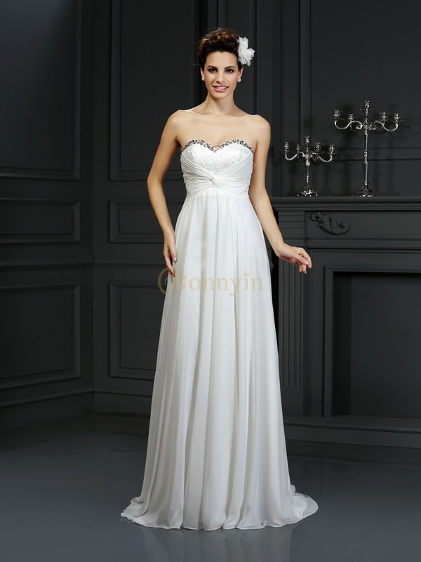 White Chiffon Sweetheart A-Line/Princess Chapel Train Wedding Dresses