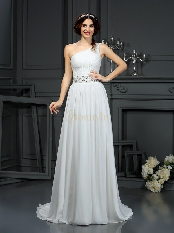 Ivory Chiffon One-Shoulder A-Line/Princess Court Train Wedding Dresses