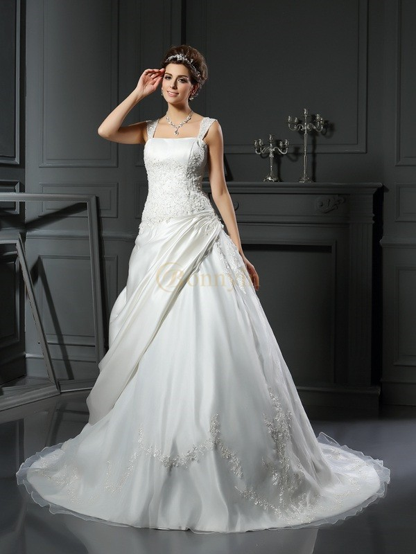 Ivory Satin Straps Ball Gown Chapel Train Wedding Dresses