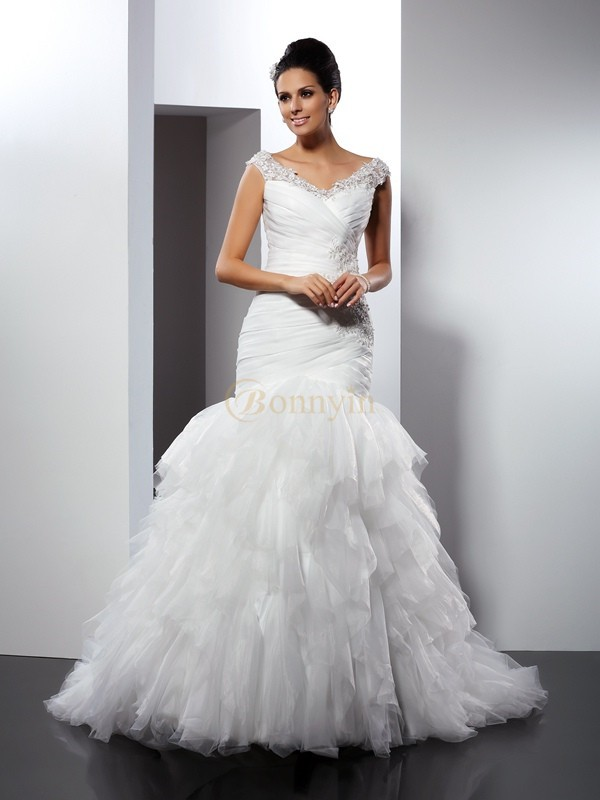 Ivory Tulle V-neck Trumpet/Mermaid Cathedral Train Wedding Dresses