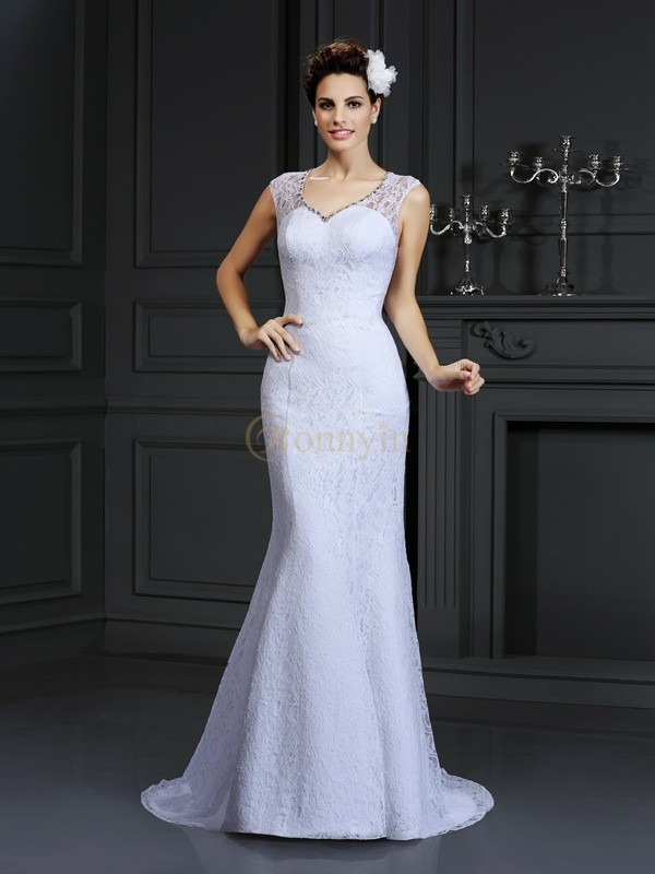 White Satin V-neck Sheath/Column Court Train Wedding Dresses