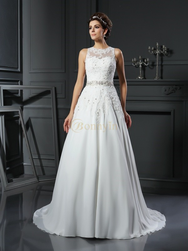 Ivory Satin High Neck A-Line/Princess Chapel Train Wedding Dresses