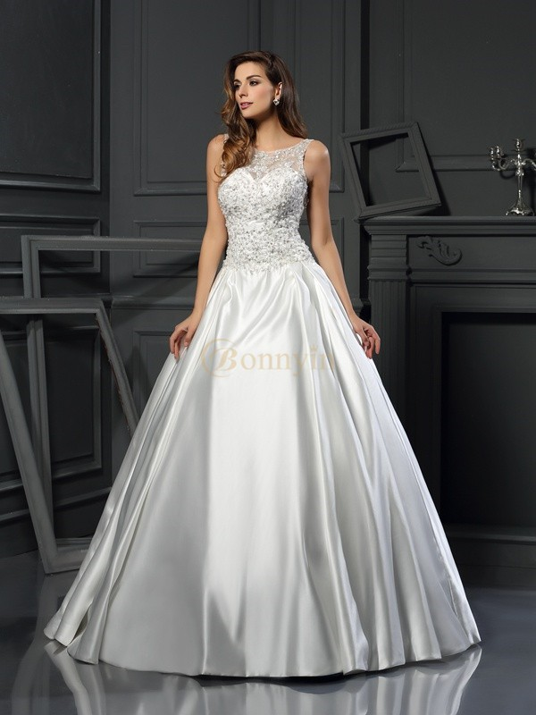 Ivory Satin Scoop Ball Gown Chapel Train Wedding Dresses