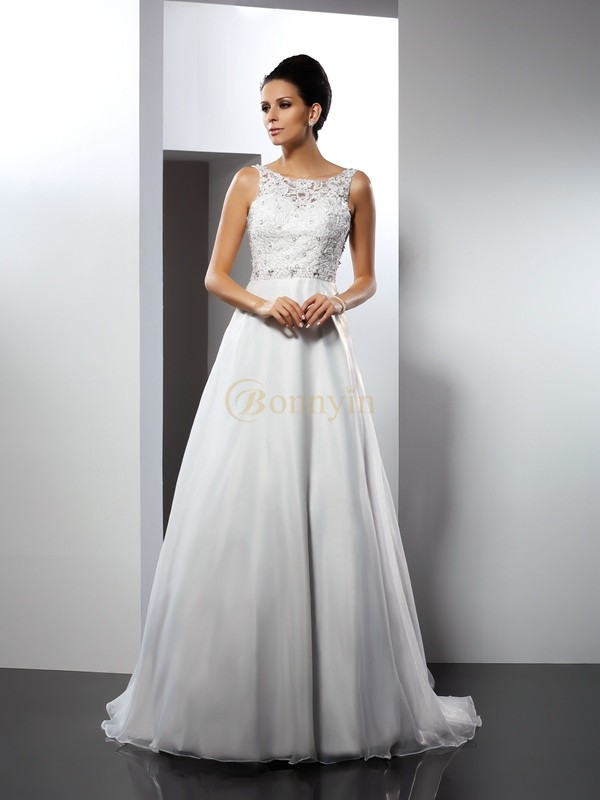 White Satin Scoop A-Line/Princess Chapel Train Wedding Dresses
