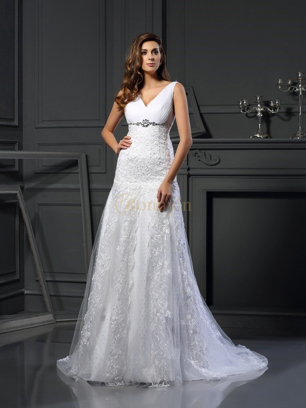 White Satin V-neck A-Line/Princess Chapel Train Wedding Dresses