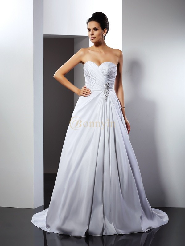 White Satin Sweetheart A-Line/Princess Court Train Wedding Dresses