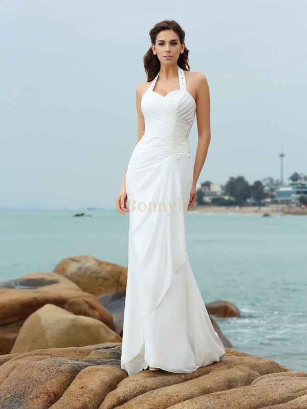 White Chiffon Halter Sheath/Column Court Train Wedding Dresses