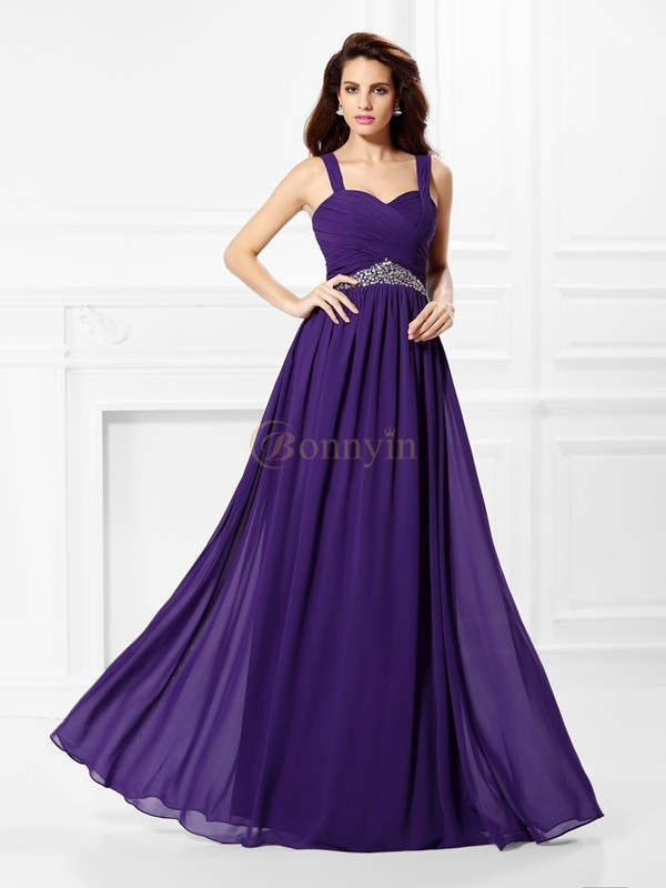 Grape Chiffon Sweetheart A-Line/Princess Floor-Length Prom Dresses