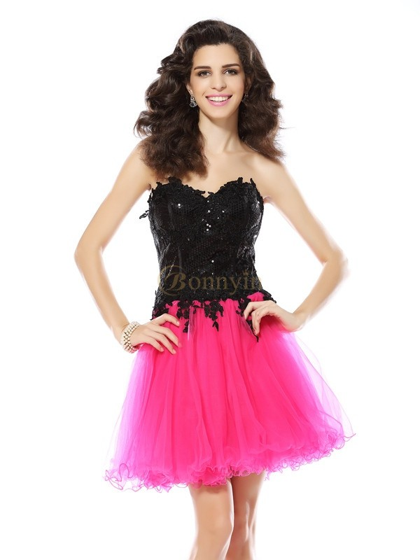 Black Net Sweetheart A-Line/Princess Short/Mini Dresses