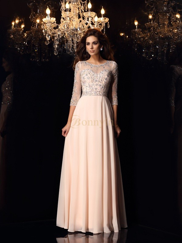 Pearl Pink Chiffon Scoop A-Line/Princess Floor-Length Dresses
