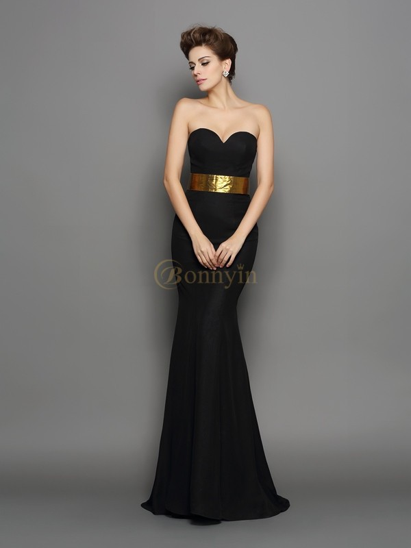 Black Chiffon Sweetheart Trumpet/Mermaid Court Train Evening Dresses