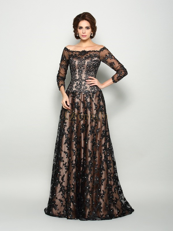 Black Satin Off-the-Shoulder A-Line/Princess Court Train Mother of the Bride Dresses