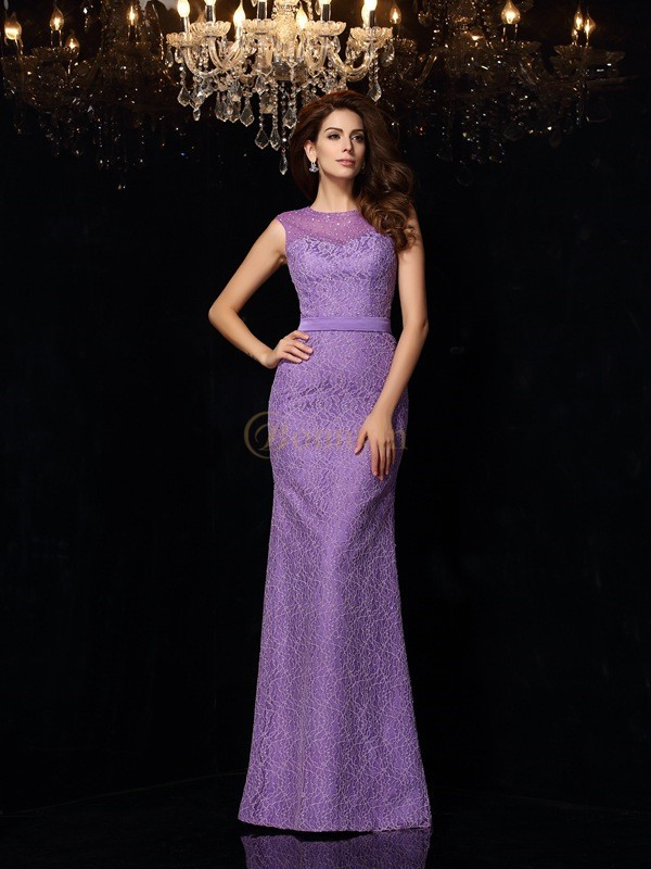 Grape Satin Scoop Sheath/Column Floor-Length Dresses
