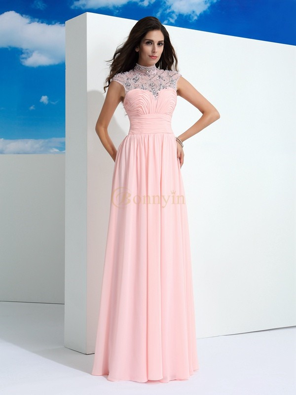 Pink Chiffon Sheer Neck A-Line/Princess Floor-Length Prom Dresses