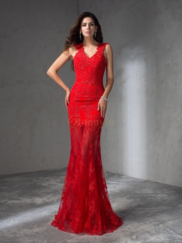 Red Satin V-neck Trumpet/Mermaid Sweep/Brush Train Prom Dresses