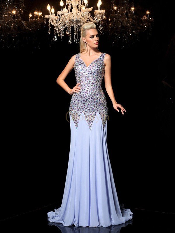 Blue Chiffon Straps Sheath/Column Sweep/Brush Train Prom Dresses