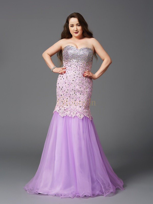 Lilac Net Sweetheart Trumpet/Mermaid Sweep/Brush Train Prom Dresses