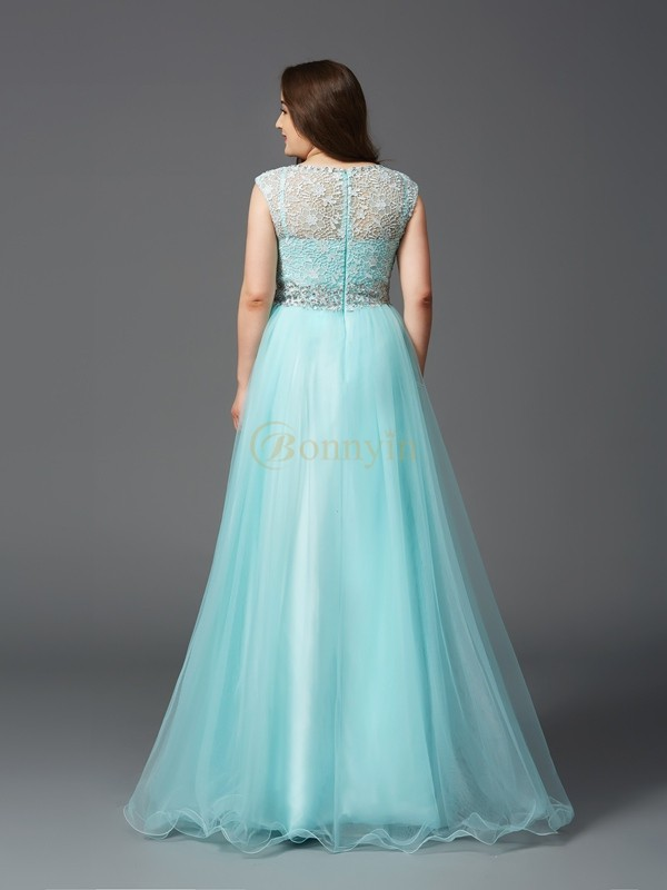 Light Sky Blue Elastic Woven Satin Scoop A-Line/Princess Floor-Length Prom Dresses