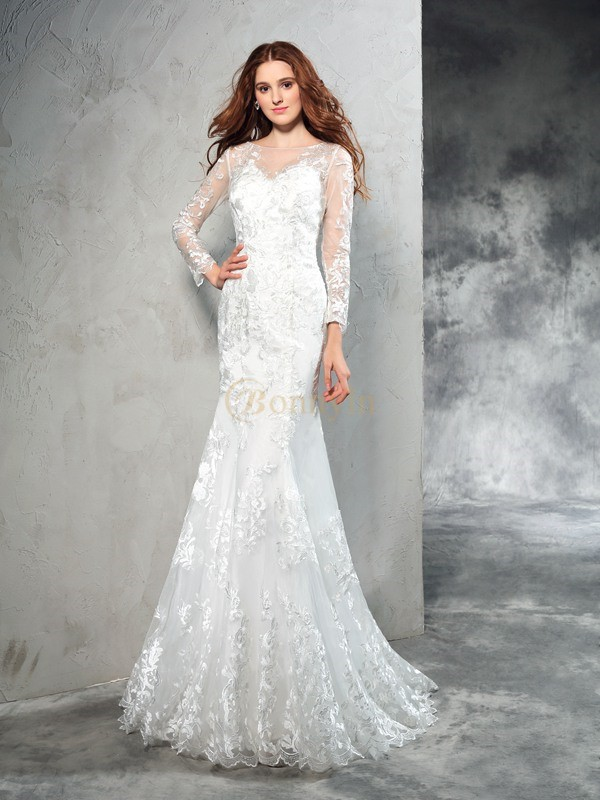 Ivory Net Sheer Neck Sheath/Column Sweep/Brush Train Wedding Dresses