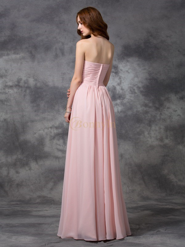 Pearl Pink Chiffon Sweetheart A-line/Princess Floor-length Bridesmaid Dresses