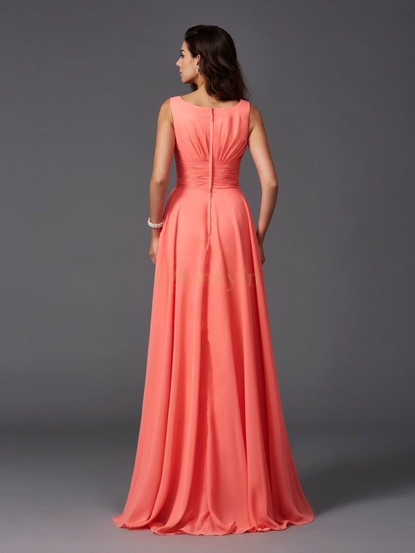 Watermelon Chiffon Scoop A-Line/Princess Sweep/Brush Train Bridesmaid Dresses
