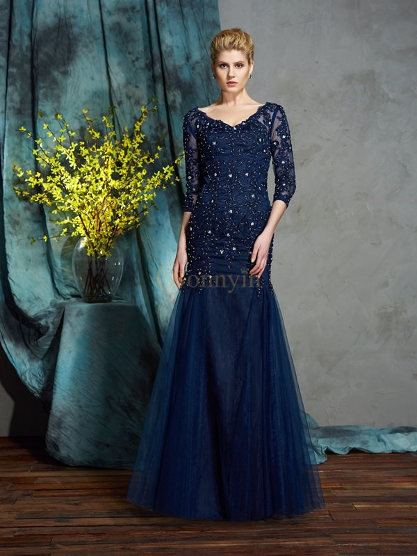 Dark Navy Net V-neck Sheath/Column Floor-Length Mother of the Bride Dresses