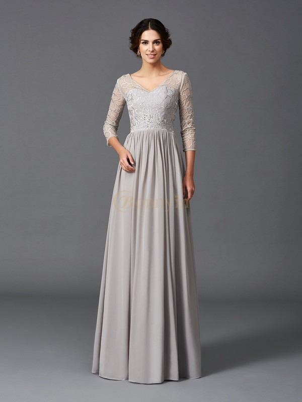 Grey Chiffon V-neck A-Line/Princess Floor-Length Mother of the Bride Dresses