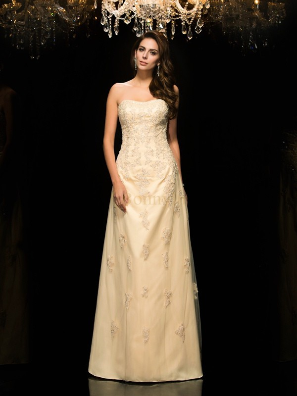 Champagne Net Sweetheart A-Line/Princess Floor-Length Mother of the Bride Dresses