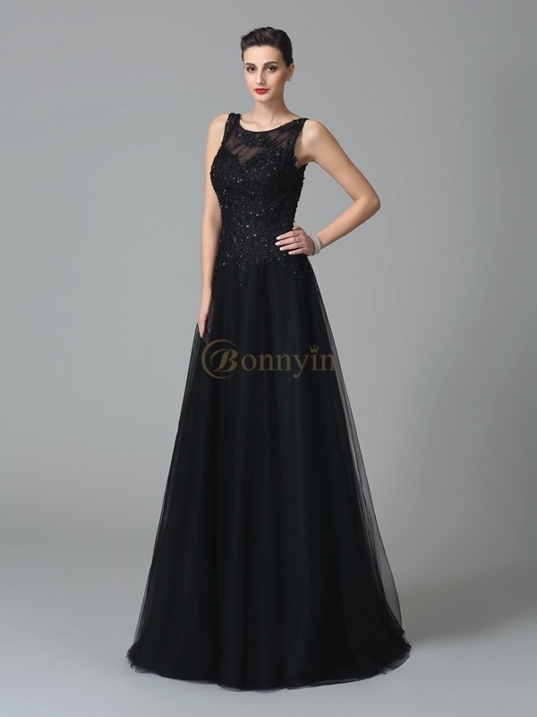 Black Net Straps A-Line/Princess Sweep/Brush Train Mother of the Bride Dresses