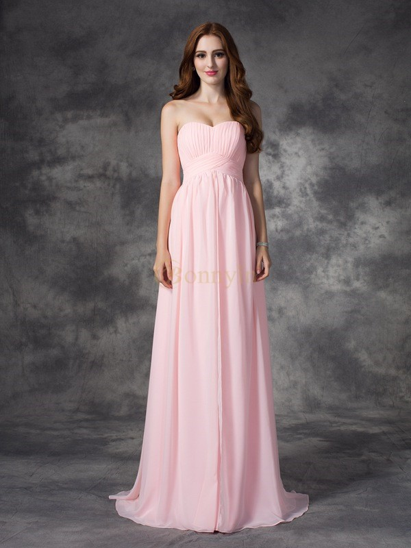 Pink Chiffon Sweetheart A-line/Princess Sweep/Brush Train Prom Dresses
