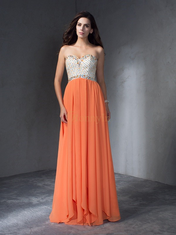 Chiffon Sweetheart A-Line/Princess Floor-Length Prom Dresses