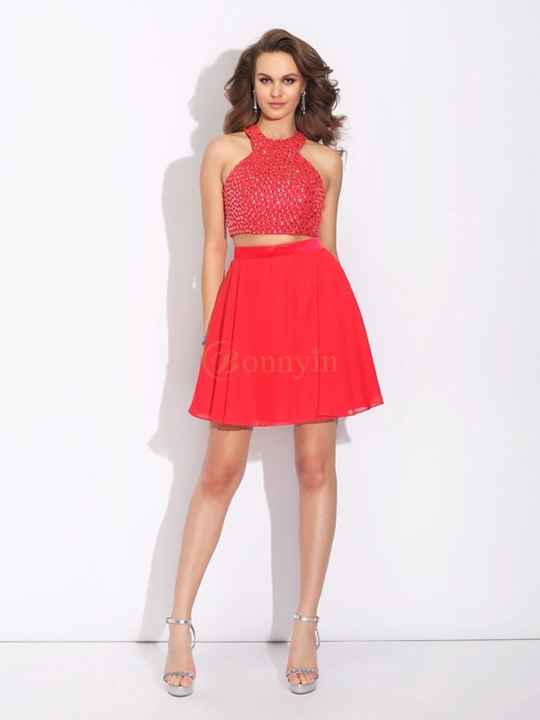 Red Chiffon Jewel A-Line/Princess Short/Mini Prom Dresses
