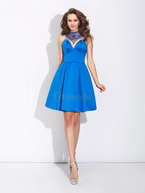 Royal Blue Satin High Neck A-Line/Princess Short/Mini Prom Dresses