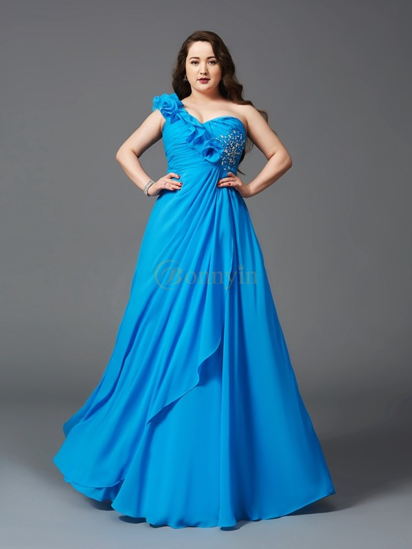 Royal Blue Chiffon One-Shoulder A-Line/Princess Floor-Length Prom Dresses