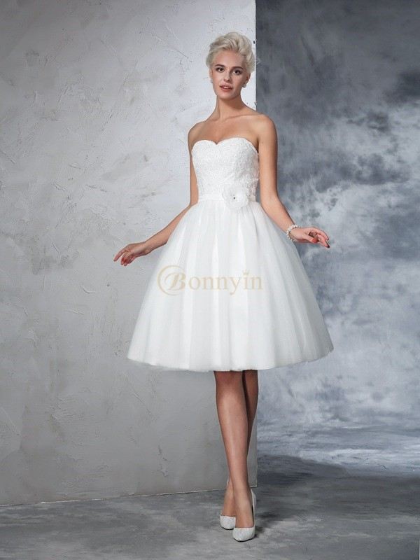 Ivory Net Sweetheart A-Line/Princess Knee-Length Wedding Dresses