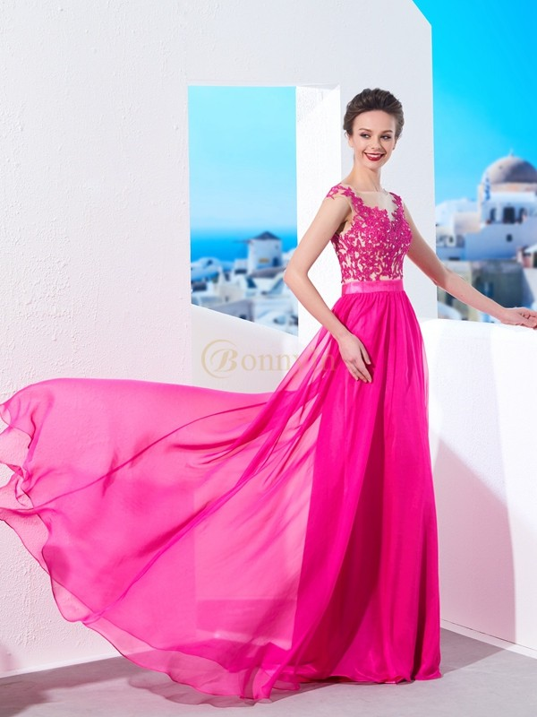 Fuchsia Chiffon Sheer Neck A-Line/Princess Sweep/Brush Train Dresses