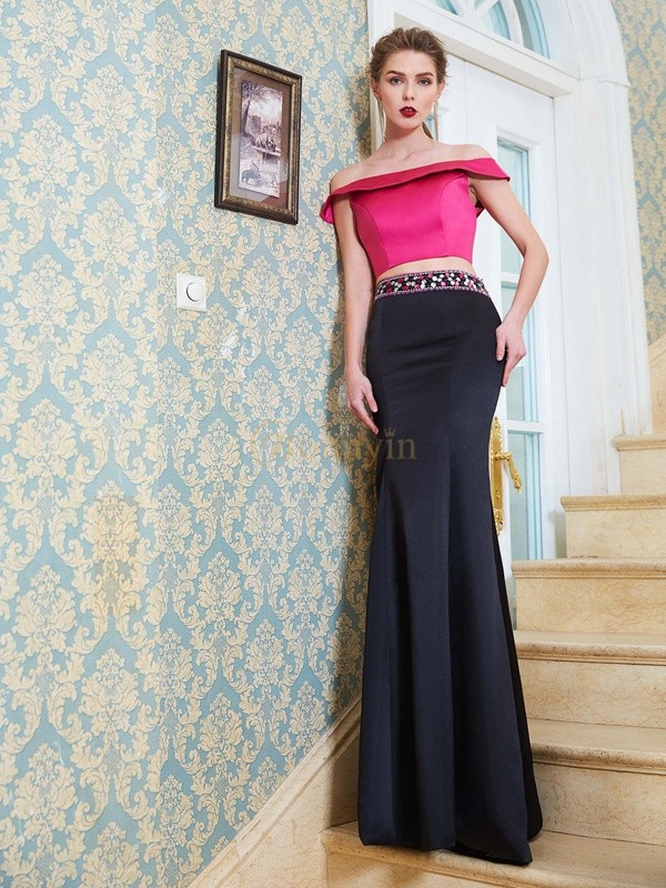 Fuchsia Satin Off-the-Shoulder Trumpet/Mermaid Floor-Length Two Piece Dresses