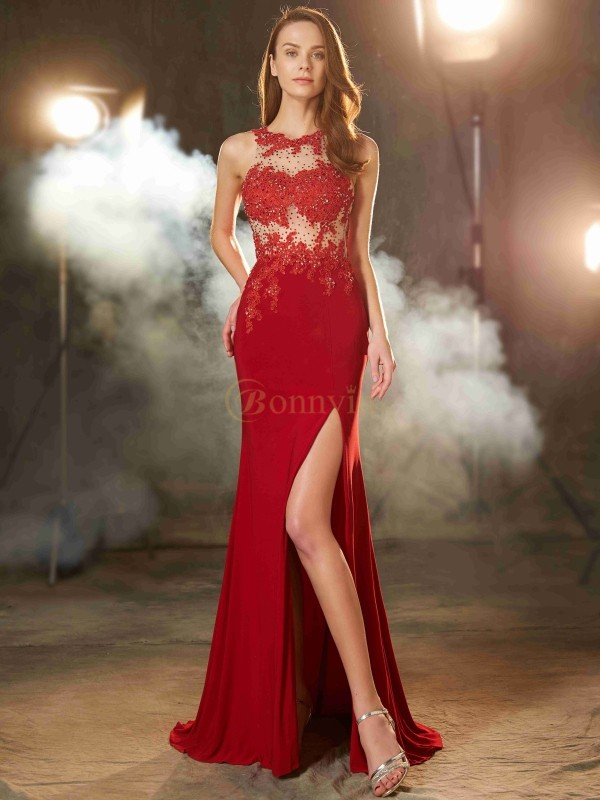 Red Spandex Jewel Sheath/Column Sweep/Brush Train Prom Dresses