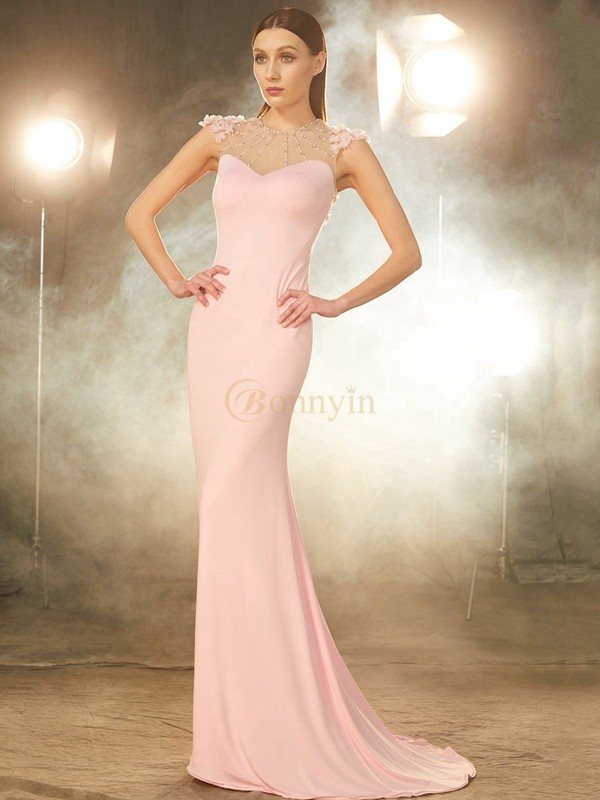 Pink Spandex Jewel Trumpet/Mermaid Sweep/Brush Train Prom Dresses