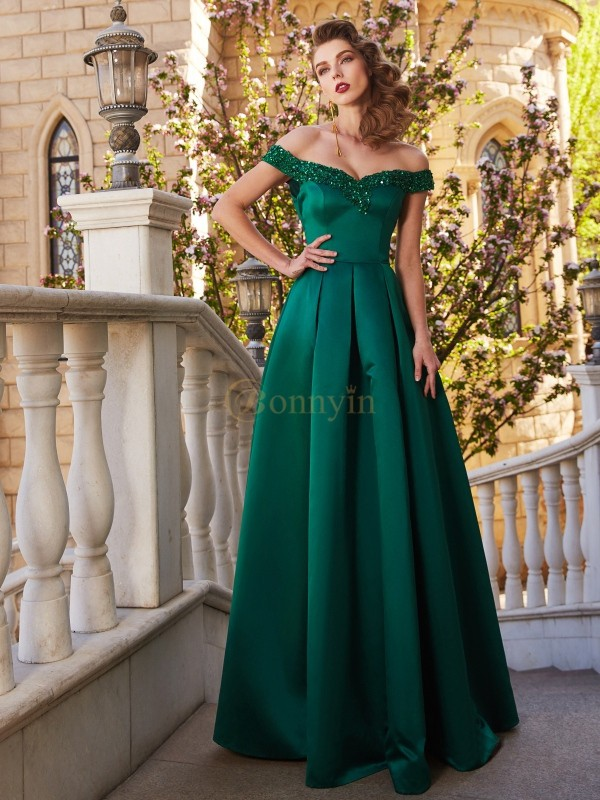 Dark Green Satin Off-the-Shoulder A-Line/Princess Floor-Length Prom Dresses