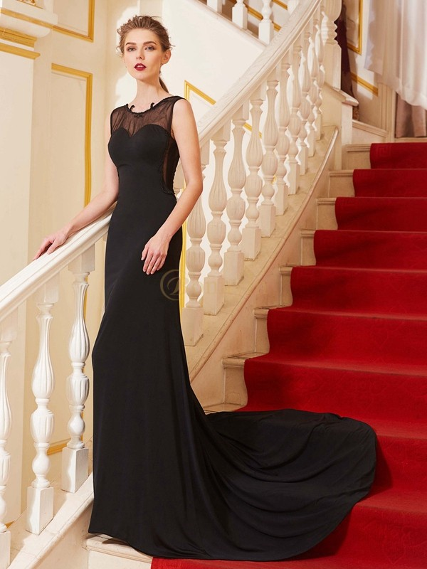 Black Spandex Scoop A-Line/Princess Sweep/Brush Train Prom Dresses