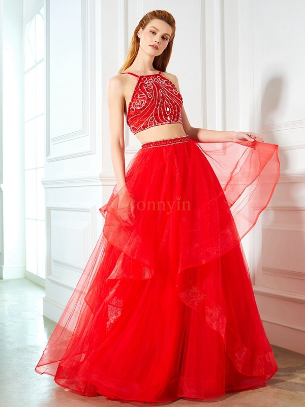 Red Tulle Spaghetti Straps A-Line/Princess Floor-Length Prom Dresses